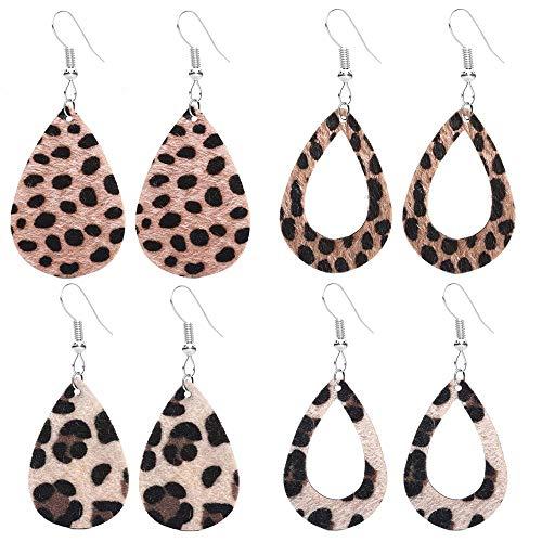 Leder Ohrringe Leichte Kunstleder Blatt Ohrringe Teardrop Baumeln Handgemachte Leopardenmuster für Frauen Mädchen 4 Pairs