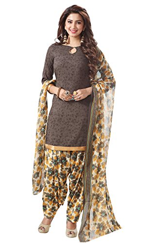 Ishin Synthetic Brown & Beige Printed Unstitched Salwar Suit Dress Material (Anarkali/Patiyala) With Dupatta