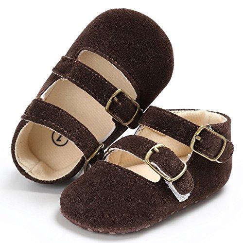 MiyaSudy Neugeborenen Baby Mädchen Schuhe Solide Weiche Sohle Rutschfeste Krippe Schuhe Erste Wanderer 0-18 Monate Lauflernschuhe Krabbelschuhe Braun