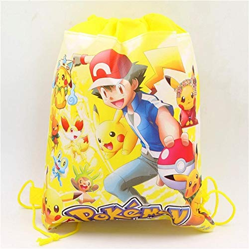 Uniqus Geburtstagsparty Pokemon Go Kordelzug Tasche Cartoon Kinder Gastgeschenke Baby Shower Pikachu Dekoration Vlies Rucksack Supplies