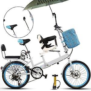 Axdwfd Kinderfahrräder 20 Zoll Fahrrad, Mutter und Kind Tandem Folding...