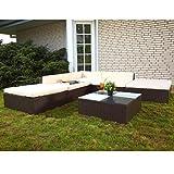 Melko Lounge Sofa-Garnitur Gartenset, Poly Rattan, mit Glastisch, Braun, inklusive Kissen, 16 tlg.