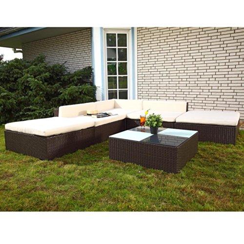Melko Lounge Sofa-Garnitur Gartenset, Poly Rattan, mit Glastisch, Braun, inklusive Kissen, 16 TLG. - 240 Ess-set