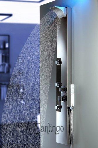 Edelstahl Duschpaneel von Sanlingo. Duschsäule mit Spiegel, Wasserfall und Regendusche