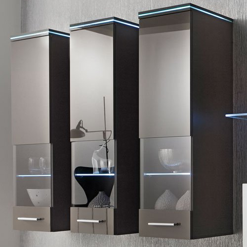 Anbauwand 5-tlg. Hochglanz grau, 2 x TV-Element, 3 x Hängeschrank, 1 x Glasbodenpaneel, Mindestbreite: ca. 240 cm, Tiefe: ca. 40 cm - 2