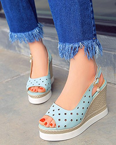 Aisun Damen Asakuchi Bequem Slingback Keilabsatz Sandale Blau