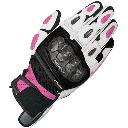 Alpinestars Guantes de motorista para mujer Stella SPX Air Carbon rosa/negro, blanco y fucsia, XS