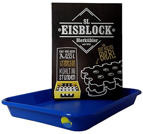 SL-Eisblock - Bierkühler Getränkekühler BLAU in Geschenkverpackung für 0,33l Flaschen Made IN Germany + Auffangwanne/Wasserauffangschale (Geschenkverpackung + Auffangwanne) (Terrassen Eis-kühler Für)