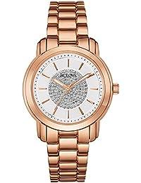 Bulova Accu Swiss Crystal 97L147 - Reloj de Cuarzo para Mujer con Esfera  analógica y Plata Pulsera bañada en Oro… 333ab030ddde
