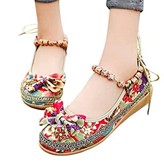 ❤️ Familizo Women's Summer Boat Shoes Ladies Fashion Embroidered Bowknot Ankle Flat Casual Shoes Sandals Silppers Retro Beaded Ethnic Embroidered Single Shoes (EU:37, Red)