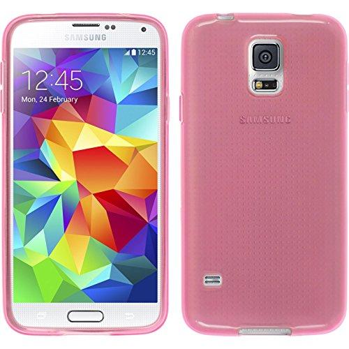 PhoneNatic Case kompatibel mit Samsung Galaxy S5 Mini - rosa Silikon Hülle transparent + 2 Schutzfolien