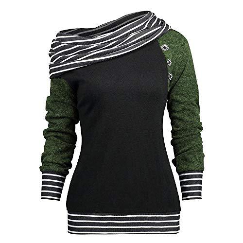 NINGSANJIN Langarmhemd Sweatshirt Langarm Hohe Kragen Pocket Casual Pullover Jacke Top Jumper Outwear (Grün,L) -