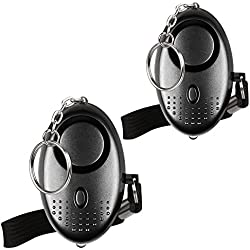 Mini Alarme Personnelle 130db avec Torche LED (2 Pack) Olycism Alarme d'urgence pour Femmes/Rape/Âgées/Jogger/Protection D'auto-Défense/des étudiants (Noir)
