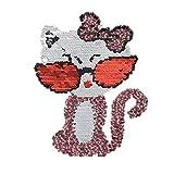 Morza Ropa Reversibles Pegar Imagen Gato con Lentejuelas de