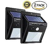 Luci Solari 20 LED con Sensore di Movimento, Faretti Lampada da 400LM Luce Solare  Wireless ad Energia per Giardino, Patio, Cortile, Strada Privata, Scale,Parete,cantiere, illuminazione esterna ,Dark Sensing Auto On / Off(2-Pezzi)