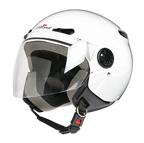 Scotland D/Jet - Casco con Visera Larga, Blanco, 59 (L)