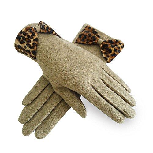 Unbranded Haute für Diva S Neu Damen Abend Winterwolle klassisch Lederschleife Dekor Leopard Schleifendesign Handschuhe Geschenk - Einheitsgröße, Camel RWG1077 -