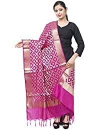 Asavari Magenta Banarasi Silk Dupatta With Golden Zari Jaal Weaves