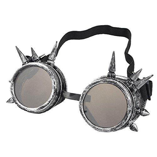 AOLVO Retro Vintage Viktorianischer Steampunk Brille, Schweißen Cyber Punk Gothic Cosplay, silberfarben antik-Optik