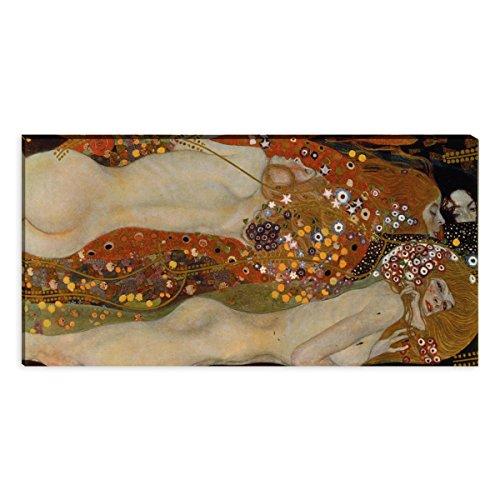 """Wandkings Leinwandbilder von Gustav Klimt - Wähle ein Motiv & Größe: \""""Wasserschlangen II\"""" - 120 x 60 cm"""