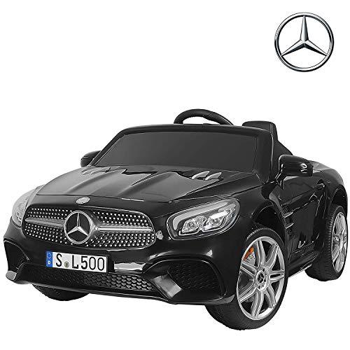 UEnjoy Mercedes-Benz Kinderauto Kinderfahrzeug Elektro Spielzeug 12V Lizenziert SL500 AMG Roadster Kinder Fahrt-on Auto Electric w / Fernbedienung 3 Geschwindigkeiten LED-Leuchten,Schwarz
