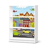 Möbelgestaltung für IKEA Billy Regal 3 Fächer | Kindermöbel Möbeldekor Bedruckte Klebe-Folie | Deko Ideen Erlebnisraum Kindertapeten | Kids Kinder City Life