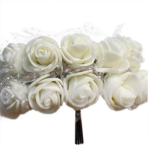 DAYAN 144pcs Simulazione Fiore Schiuma filato PE rose per Decorazione in Cerimonia Nuziale Matrimonio Party color bianca - Bag Corpetto