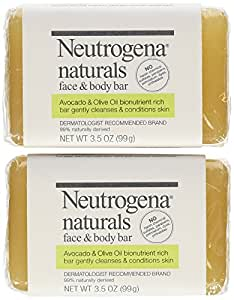 Neutrogena Naturals Face and Body Bar 3.5 Ounce Bars (Pack of 2)