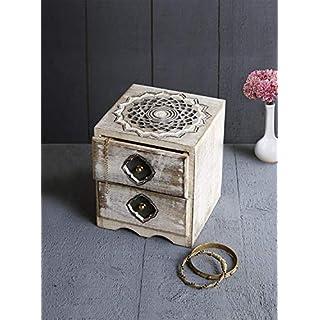 andmade Antique Wooden Vintage Jewellery Multipurpose 2 Drawer Keepsake Storage Small Safe Organizer Treasure Chest Trinket Holder Gift Box (Design 10) - A for Him and Her Men Women