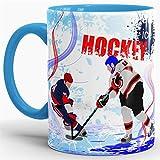 Eishockey-Tasse Wintersport - Farbtasse Innen und Henkel Blau / Kaffeetasse / Mug / Cup - Qualität Made in Germany