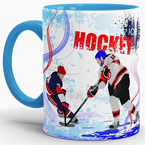 Eishockey-Tasse Wintersport - Farbtasse Innen und Henkel Blau / Kaffeetasse / Mug / Cup - Qualität Made in Germany (Eishockey-schlittschuhe Blaue)