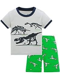 HIKIDS - Pijama Corto para niño - Pijamas de Manga Corta Verano para Niños - Pijama Dos Piezas - Pijamas de Manga Corta para niños Dinosaurio Tiburón Tractor Excavador Avión Cohete Espacial 2-8 Años