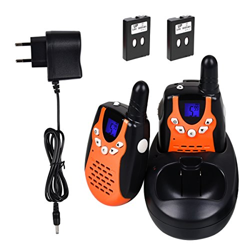Funkprofi Walkie Talkies Set für Kinder mit LCD Display, T-602 Funkhandy Interphone für Kids Wiederaufladbare Akkus 3 km 8 Kanal 1 Paar Orange