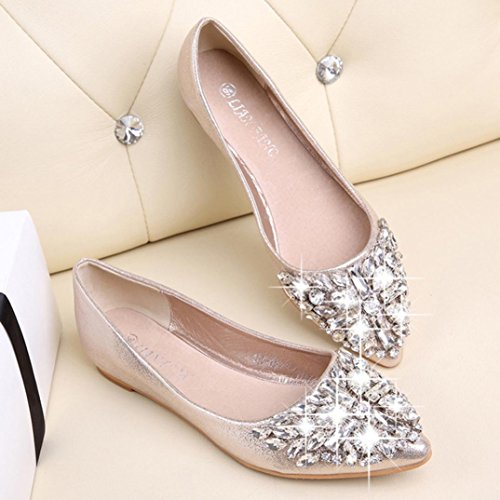Punta Ballerine libero Primavera singole scarpe Piatto Scarpe Oro Strass Tempo BYSTE Donna appuntito I4awqq