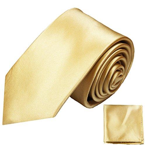 Paul Malone Seidenkrawatten Set 2tlg schmale 6cm Krawatte gold sand uni satin + Einstecktuch (Normallange 150cm)