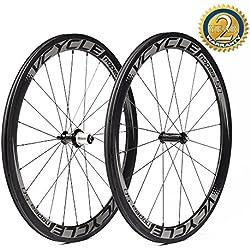 VCYCLE Nopea 700C Carreras de Carretera de Carbono Bicicleta Ruedas 50mm Remachador Recto Shimano o Sram 8/9/10/11 Velocidad Sólo 1500g
