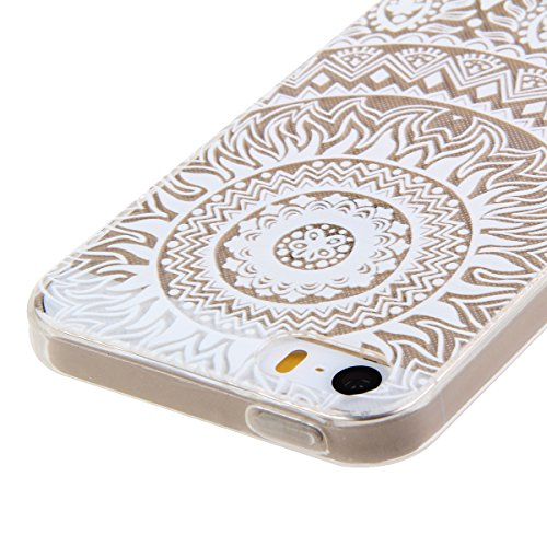 Etsue TPU Silikon Hülle für iPhone SE/iPhone 5S Aztec Tribal Henna Floral Mandala Blume Muster, Bunte Malerei niedlich Karikatur Retro Painted Transparent Handyhülle Soft Back Cover Ultra Slim Weiche  Weiß Blumen muster #20