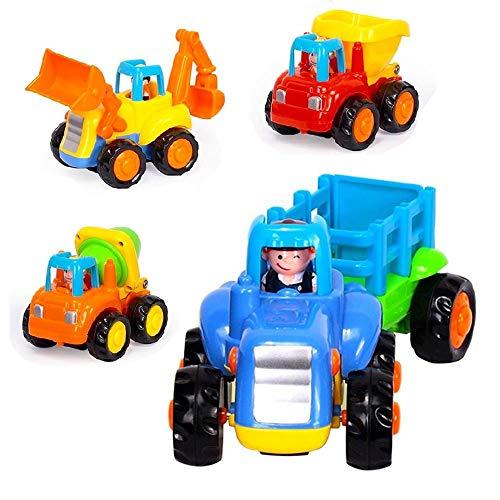 YUHT Fernbedienung Bagger Autos fur Kinder ab 3 Jahre Satz von 4 Cartoon Friction Powered Play-Fahrzeuge für Kleinkinder - Kipplaster, Zementmischer, Bulldozer, Traktor - Powered Bagger