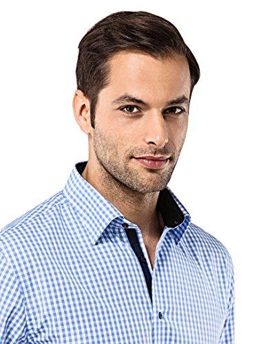 Vincenzo Boretti Herren-Hemd Bügelfrei 100% Baumwolle Regular-Fit Kariert New-Kent Kragen - Männer Lang-Arm Hemden für Anzug mit Krawatte Business Hochzeit Freizeit Blau/Weiß
