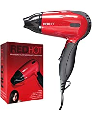 Red Hot 37070 Professional Style Compact 1200W Travel Hair Dryer with Folding Handle Dual Voltage 2 Heat Settings, Red