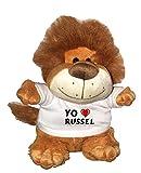 León de peluche (Fetzy) con Amo Russel en la camiseta (nombre de pila/apellido/apodo)