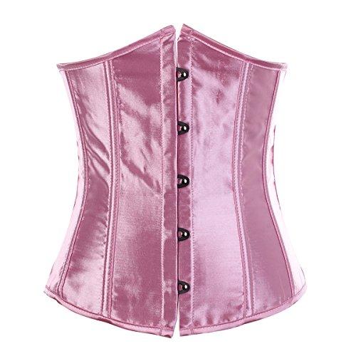 korsett Corsage Unterbust Vintage Taillen Korsagen Top Übergrößen (EUR(40-42)2XL,Rosa)