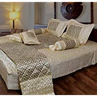 Amer Handicraft Satin Gold Printed Double Bed Bedding Set (Set of 8 pcs) 1 Double Bed Bedsheet:: 2 Pillow Cover:: 1…