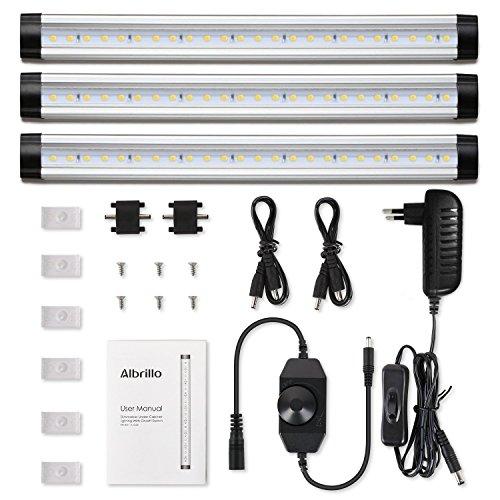 Albrillo 3er Pack Unterbauleuchte Stufenlos-dimmbar LED Unterbauleuchten 12W warmweiß mit Dimmer und Adapter, inkl. Montage-Zubehör