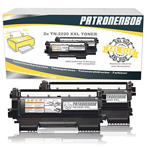 2x Patronenbob® SUPER XXL TONER 5.400 S. kompatibel für Brother TN-2220 / TN-2010