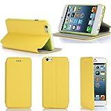 Etui luxe iPhone 6 Plus 5.5 16/32/64 Go (Wifi/3G/4G/LTE) Ultra Slim jaune Cuir Style avec stand - Housse coque de protection pour Apple iPhone 6 Plus 5,5 pouces jaune - Prix découverte accessoires pochette XEPTIO : Exceptional case !