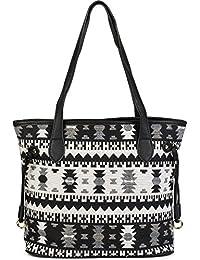 styleBREAKER Schultertasche mit Azteken Muster im Boho Style, Henkeltasche, Handtasche, Tasche, Damen 02012100