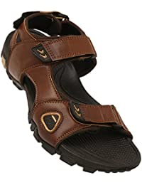 STOP By Shoppers Mens Leather Velcro Closure Sandals