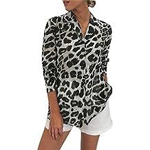 Zarupeng Mujer Camisetas y Tops Leopardo Impresión, Trajes y Blazers Gasa de Manga Larga Blusas