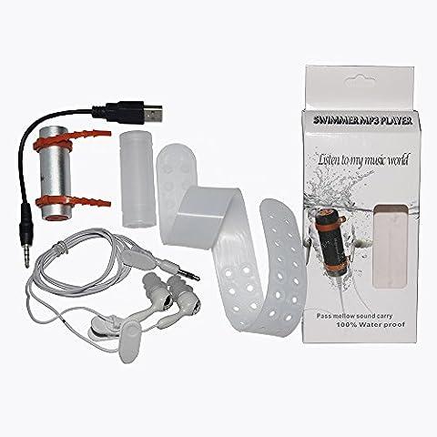 4GB Natación Buceo Impermeable MP3 Radio FM Auricular (plata)